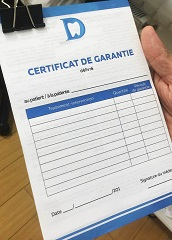 certificat de garantie pour implant dentaire en Moldavie